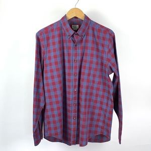 J CREW Men's Plaid Madras Cotton Shirt Large 1010